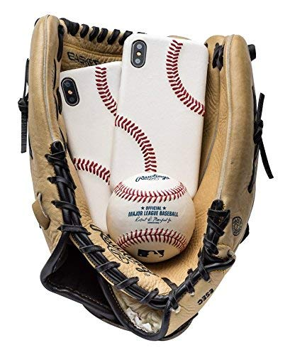 Baseball Schutzhülle für iPhone 6/6S/7/8-6/6S/7/8 Plus & iPhone X, hergestellt mit MLB/Pro Baseball Leder und erhöhter Naht, Ultra dünn, Schutzgriff Apple Hülle, iPhone XS Max White