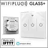 Interruptor de luces inteligente Wifiplug Wpglass3 Glass 3 Gang de color blanco