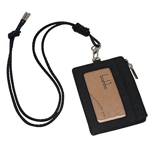 boshiho gewachst Leder Badge Holder ID Kartenhalter mit Kleingeld Geldbörse Größe S schwarz 2 (Halskette-card-inhaber)