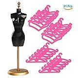 Asiv 1 Affichage Stand et 20 Cintres Meubles en Plastique pour poupées de 30cm