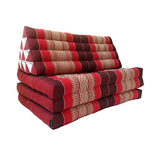 Collumino® Materasso matrimoniale, in tradizionale capoc Thai, a 3 strati, con cuscino reclinabile triangolare, in stile orientale, per yoga, massaggi o relax, da 80 cm, extra grande Red, Maroon