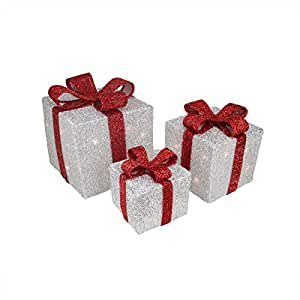Lot de 3 bo tes cadeau de no l argent avec n uds rouge for Decoration de noel amazon