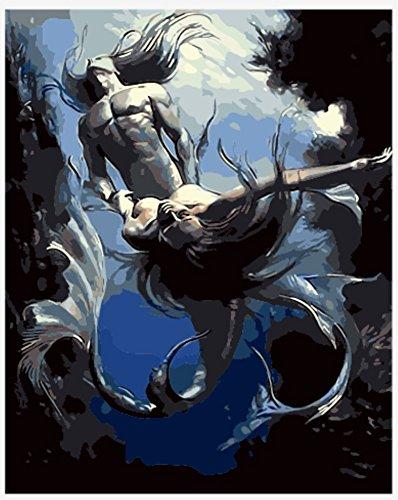 hlen Kits || Nackte Fisch familie Mermaid 50 x 40 cm || Malen nach Zahlen, DIGITAL Ölgemälde (Mit Rahmen) (Nackt Frau Claus)
