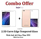 WOW Imagine COMBO PACK OF 2.5D 0.3mm Toughened Tempered Glass Screen Protector and Soft Jel Ultra Thin 0.3mm Full Protection Premium Clear TPU Back Case Cover (Transparent) For XIAOMI MI REDMI 4A