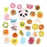 Toy - NUOLUX Weiche Squishy 30Pcs zufällige Kawaii weiche Nahrung weich Panda/Brot/Ca KE/Brötchen Telefon Riemen