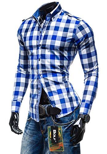 BOLF - Chemise casual à carreaux – Manches longues – élégant - BOLF 2779 - Homme Bleu