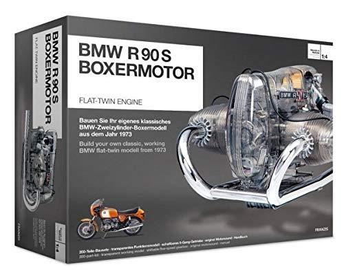 FRANZIS | BMW R 90 S Boxermotor | Motor Bausatz ab 14 Jahren | 200-Teile - transparentes, voll funktionsfähiges Motormodell - reich bebildertes Handbuch | Basteln für Motorrad und Auto Fans - Engine Model
