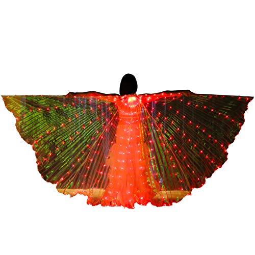 Bldance Isis Flügel LED Bauchtanz mit Teleskopstangen (Rot)