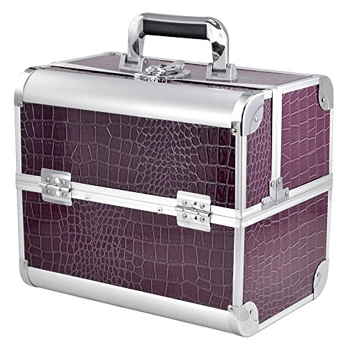 Beauty Case gross - Kosmetikkoffer im Lila Crocodile Design