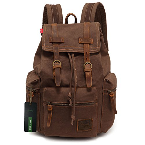 Imagen de ecocity unisex vintage lonas laptop backpack rucksack  escolar, marrón alternativa