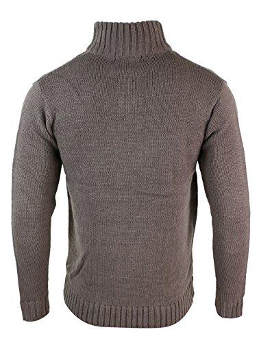 Pull sweat homme col haut tricot épais couleurs hivernales style décontracté douillet Mauve