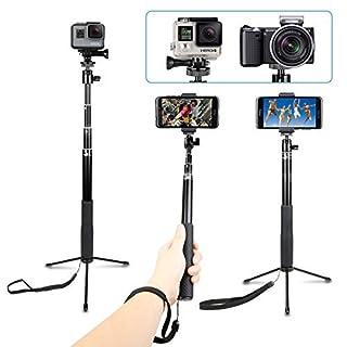 AFAITH Wasserdichte Selfie Stick mit Stativ Aluminiumlegierung Handgriff Teleskop Handheld Monopod Selfie-Stangen für GoPro Hero7 Black Hero 6 Hero 5 iPhone XS Max/X/8 Plus Samsung Galaxy S9 GP077