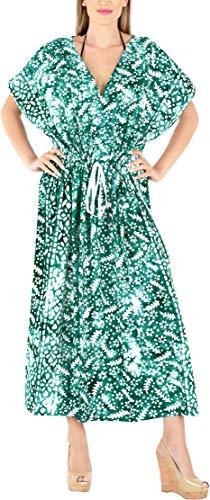 LA LEELA Damen Kaftan Strand Verkleidung Nacht Casual Abendkleid Hand Batik A - Grün - Einheitsgröße 18/26W (XL/4X) -