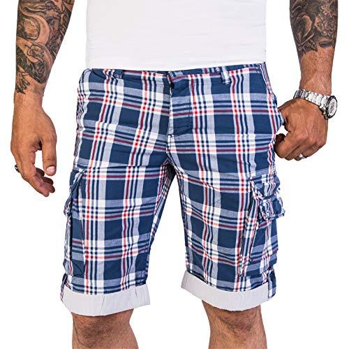 Rock Creek Herren Shorts Kurze Hose Bermuda Cargo Kariert Herrenshorts Karo Blau Cargoshorts Pants Männershorts Chino mit Taschen H-110 Darkblue M -