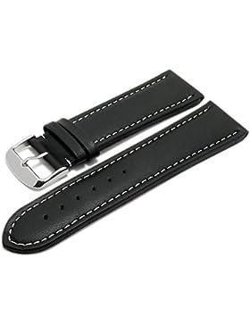 Meyhofer Uhrenarmband Okinawa 28mm schwarz Leder gepolstert helle Naht MyHeklb228/28mm/schwarz/heN