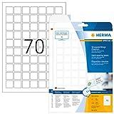 Herma 8339 Wetterfeste Folien-Etiketten (24 x 24mm auf DIN A4 Blättern, strapazierfähig, stark haftend, Klebefolie matt, selbstklebend) 1.750 Stück, weiß, PC-bedruckbar (Druckereignung beachten)