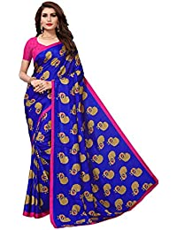 KSH Trendz Women's Peacock Crepe Silk Kalamkari Printed Saree (Royal Blue)