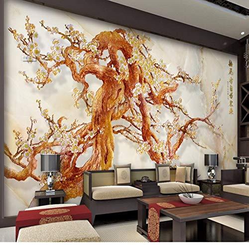 Rureng Große Kundenspezifische Tapete Bunte Nachgemachte Pflaumenblütenwohnzimmer Fernsehhintergrundwandwandbilder 3D-150X120Cm