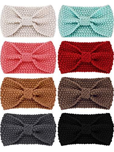 Pangda 8 Stück Winter Stricken Stirnband Turban Stirnband Ohr Wärmer Kopf Wickeln für Damen und Mädchen -