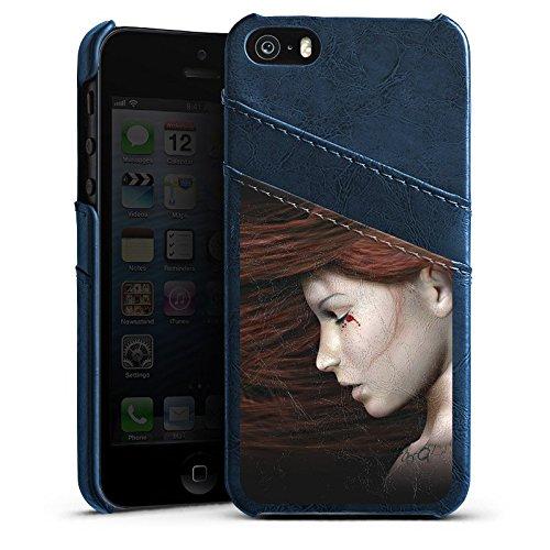 Apple iPhone 5 Housse Étui Silicone Coque Protection Femme Femme Sang Étui en cuir bleu marine