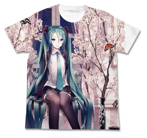 Hatsune Miku Miku spring Full Graphic T-shirt White Size: S (japan import)