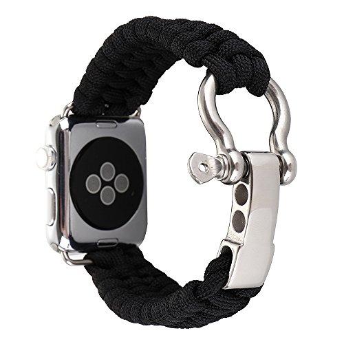 Outdoor Survival Neu Uhrenarmband Ersatz Paracord Rope Armband Handgewebt Nylon Uhrenarmbänder für Apple Watch Series1 Series2 Series3 Schwarz 42mm Apple Green Armband