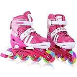 WeSkate Für Kinder / Jungen / Mädchen Canvas Design Einstellbare Rollschuhe Kinder Mit Leucht PU Räder Dreifach Schutz Leichte Inline Skates (Rosa, 31-34)