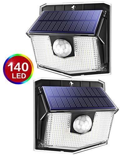 [Actualizado Version]Luz Solar de Exterior 140 leds,Lampara Solar de 3-8M Detección, 270° Ángulo de Iluminación, PIR Sensor de Movimiento, Impermeable IP67, Fácil de Instalar