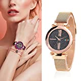 CWeep Magnetic Starry Sky Watches with Magnetic Mesh Band, Fashion Analogue Quartz Ladies Watches Dial Simulated Wrist Watches Waterproof (Gold)