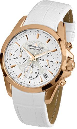 Jacques Lemans Damen Analog Quarz Uhr mit Leder Armband 1-1752H