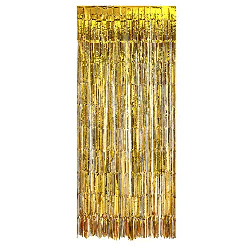 PartyLovers® Gold FOIL Fringe Curtain | Metallic Shimmering Tinsel Decoration | Great for Party DÃcor Photo Backdrops and More | Easy Installation | 3†x 8†| 3 pc