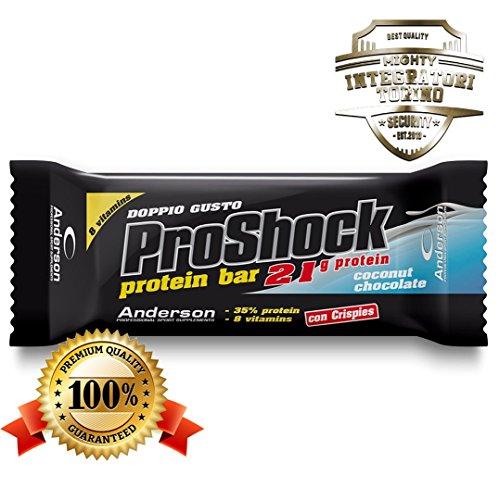24 Barrette proteiche Anderson Proshock da 60g con 21g di Proteine Whey + 8 Vitamine (Cioccolato-Cocco) Confezione formato risparmio Pro Shock