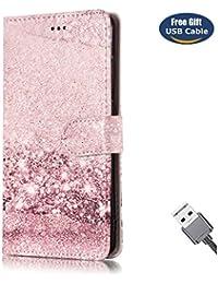 Funda Huawei Mate 9 Pro,Funda Cover Huawei Mate 9 Pro,Aireratze Slim Case de Estilo Billetera Carcasa Libro de Cuero,Carcasa PU Leather Con TPU Silicona Patrón de mármol de moda Patrón de flor de arena de piedra Case Interna Suave [Función de Soporte] [Ranuras para Tarjetas y Billetera] [Cierre Magnético] para Huawei Mate 9 Pro (Mármol rosado) (+ Cable USB)