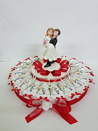 Torta bomboniere coppia sposi con nastrin completa di bigliettino matrimonio segnaposti (35 fette ( 3 piani))