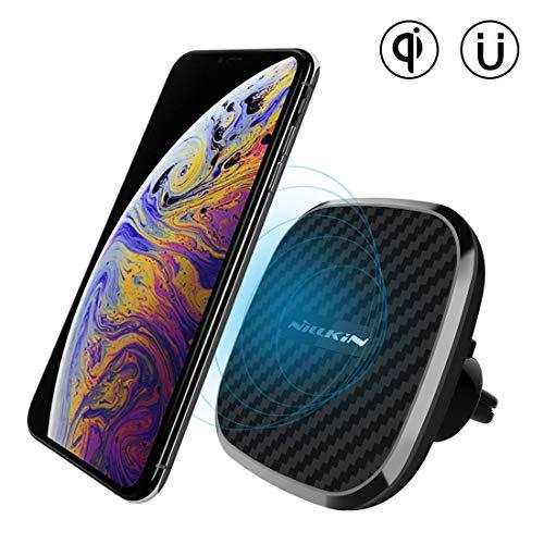 Nillkin Chargeur sans Fil Rapide Voiture, [réglable] Qi Support Téléphone Voiture Chargeur Auto sans Fil à Induction Rapide pour iPhone XS/XS Max/XR/X/8 Plus,Galaxy S10/S10 Plus/S9/S8 Plus (Modle B)