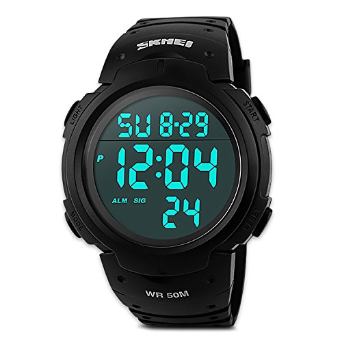 Mens Digital Sports Watch, Males Waterproof Electronic Military Army Watches Cool Fashion Large Analogue Durable Wristwatch - Black