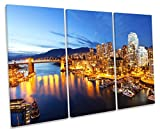 Vancouver Kanada Skyline City Treble Leinwand Wand Art Box Rahmen Bild Druck, 90cm wide x 60cm high