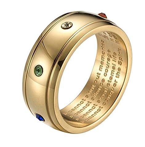 ALEXTINA Herren Damen Was Krebs Nicht können Machen 8MM Kubisch Zirkonia Katholisch Edelstahl Ring Gold Überzogen Größe 60