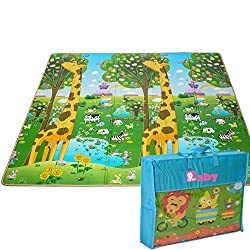 Kids Foldable Play Mat by BMyBaby - Portable Baby Play Mat for Picnic Garden Nature and More - Non-Toxic Waterproof Stain-Resistant