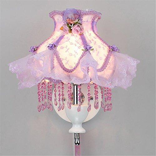 Modernes Europäisches Stil Fabric Lace Lampenschirm Wand Lampe Schlafzimmer Mädchen ' Zimmer Prinzessin cute Mauer Licht innen zuhause Dekor klein einfach Wandlampen,Purple (Purple-schlafzimmer-wand-dekor)
