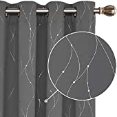 Deconovo Functional Blackout Curtains Energy Saving Curtains Foil Dotted Line Printed Eyelet Curtains for Bedroom W55 x L70 Dark Grey One Pair