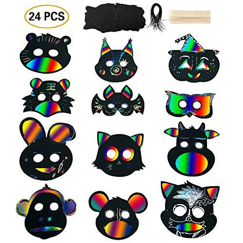 Queta Maske Unbemalt, 24 Sets Kratzpapier Tiermasken