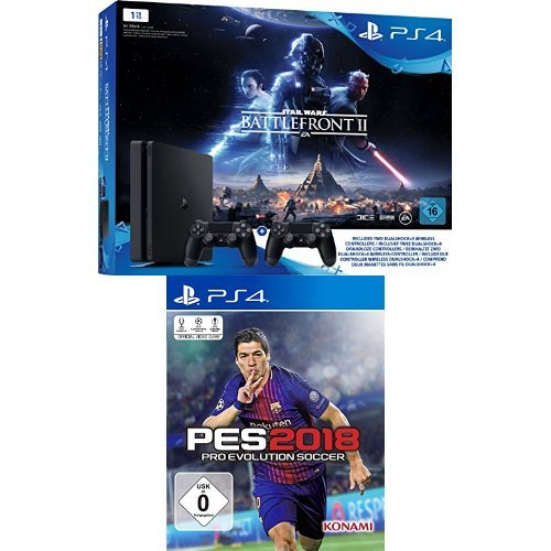 PlayStation 4 - Konsole (1TB, schwarz, slim) inkl. StarWars Battlefront II + 2 DualShock Controller + PES 2018