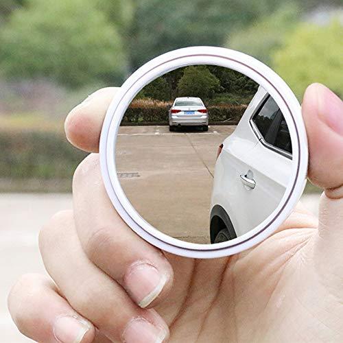 Baedivg 2 STÜCKE Auto Runden Toten Winkel Spiegel-Zone Tech Stick auf Rück Aluminium Grenze Fahrzeugspiegel 360 Breite Einstellbare Weiß