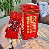 ECVISION Europäische Retro Schnurgebundenes Telefon 2 in 1 London Telefonzelle Stil Antikes Telefon zu Hause Festnetz -Telefon mit LED touch Licht Nachtlicht(Telefon)
