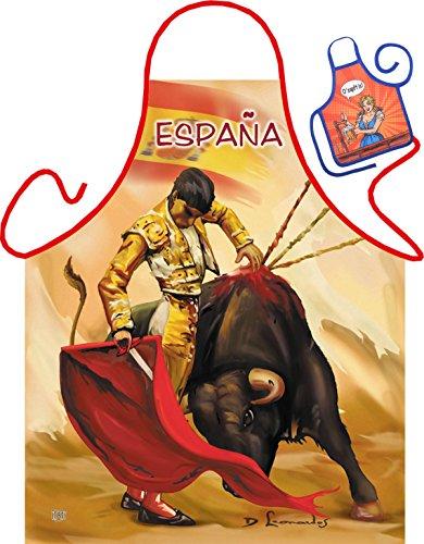 Torrero Motiv Kochschürze Torrero Stier Spanien Schürze : Torrero -- Themenschürze mit Minischürze für Flaschen (Spanien-schürze)
