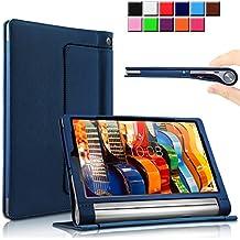 Lenovo YOGA Tab 3 10.1-Inch Funda Case, Infiland Folio PU Cuero Cascara Delgada con Soporte para Lenovo YOGA Tab 3 10.1-Inch Tablet(con Auto Reposo / Activación Función), Azul Oscuro