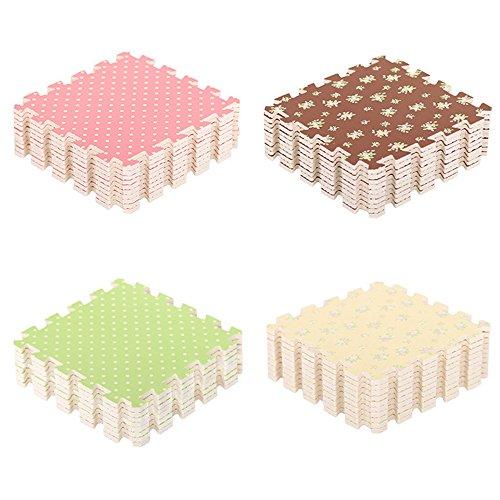 Angela-homestyle™ 9 TLG Schaumstoff Puzzlematte Bodenschutz-Matte Spielteppich Spielen Kindermatte (30 cm x 30 cm) (Grün)
