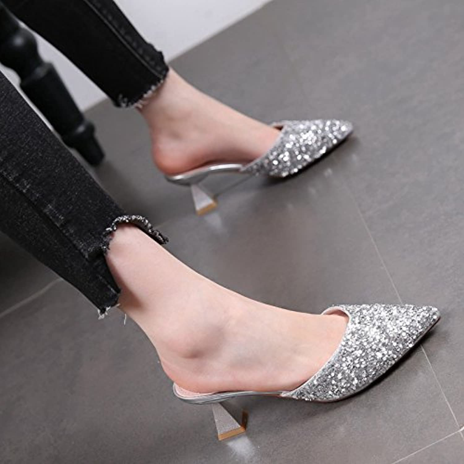 KPHY Sequins Slippers Middle Heels Slippers High-Heeled Shoes 5Cm Rough  Parent Rough Heels Pointed Toes Sandals Summer Baotou Cold Hauling  B07DBP459C Parent ... abee94abe1a