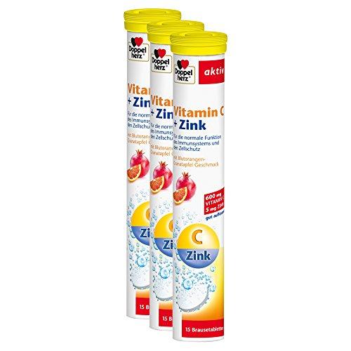 Doppelherz Vitamin C + Zink Brausetabletten / Nahrungsergänzungsmittel mit Zink zur Unterstützung des Immunsystems und zur Erhaltung normaler Haut / 3 x 15 Brausetabletten